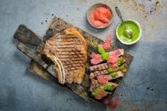Rib-eye steak with radish two ways