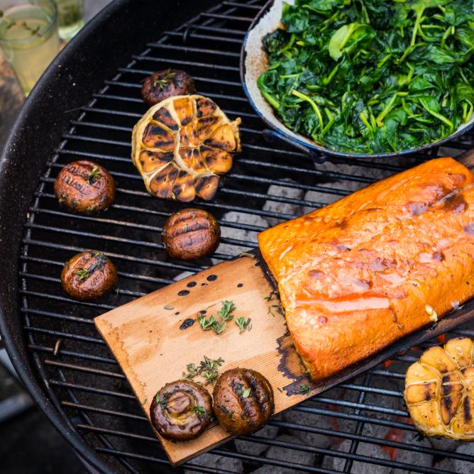 Miso-glazed salmon with spinach and mushrooms