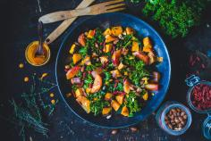 Kale and sweet potato salad with goji berry dressing