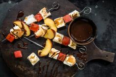 Fruit and marshmallow skewers