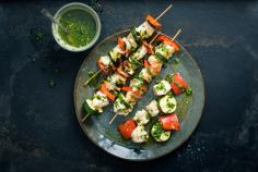 Monkfish & vegetable kebabs