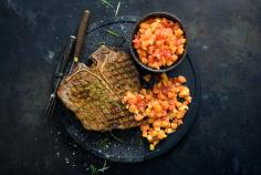 T-bone steak with papaya salsa