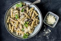 Pasta and aubergine bowl