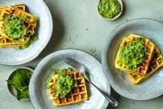 Potato waffles with pea & mint mousse