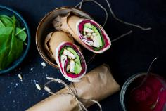 Wraps with beetroot hummus and chicken