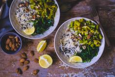 Saffron asparagus, spinach and wild rice bowl
