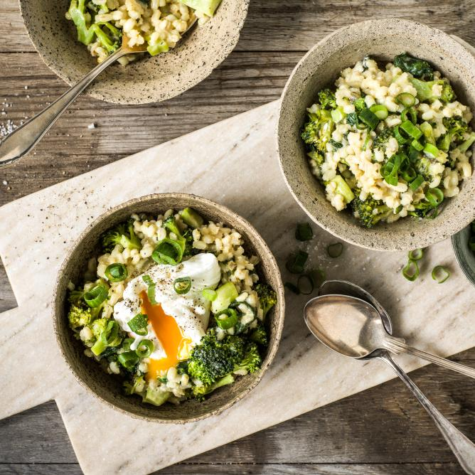 Barley risotto with poached egg