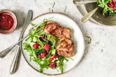 Pork steak with raspberry sauce