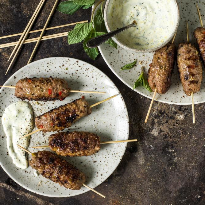 Cevapcici with yoghurt dip