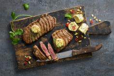 Grilled entrecote with garlic and chilli butter