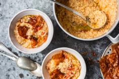 Tomato risotto with cured ham crisps