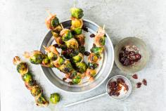 Sprout and bacon skewers