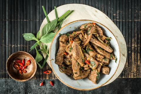 Spicy Thai beef strips