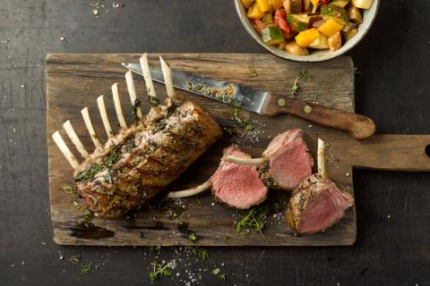 Provencale-style rack of lamb with ratatouille