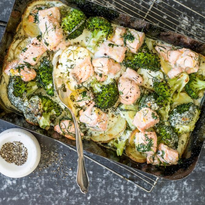 Salmon and broccoli bake
