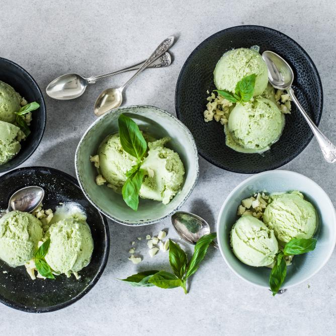 Basil ice cream with white chocolate