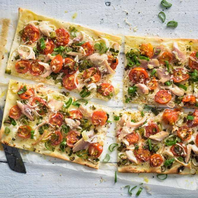 Tarte flambée with smoked trout