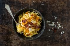 Tagliatelle with pumpkin carbonara