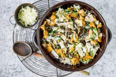 Quark pizzoccheri with mushrooms