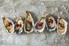 Oysters with pomegranate vinaigrette