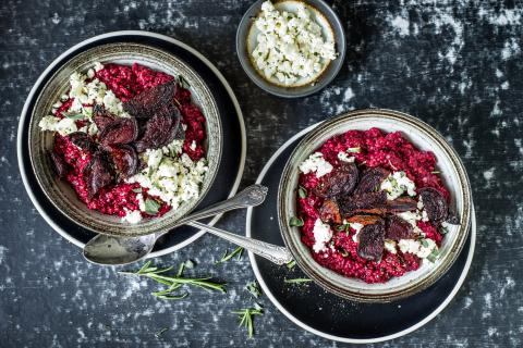 Risotto de millet aux betteraves rouges