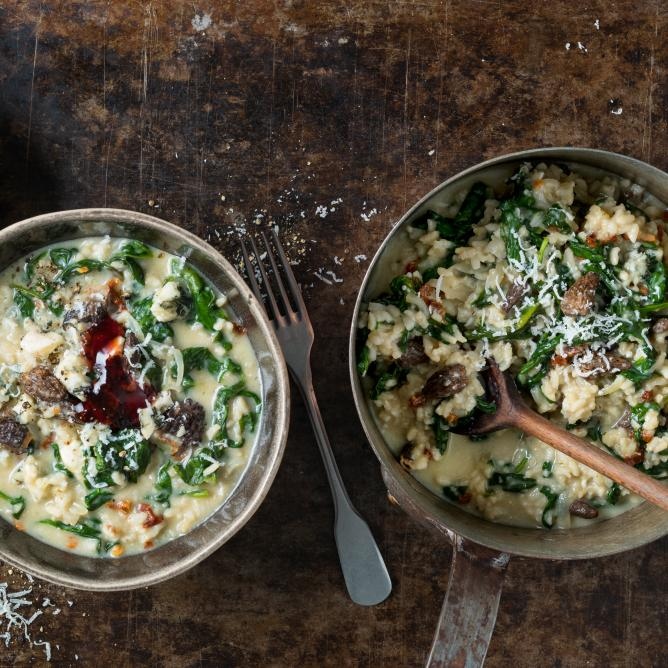 Risotto with morel mushrooms and spinach