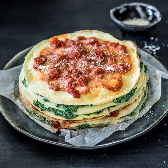 Omelette cake with ricotta and spinach