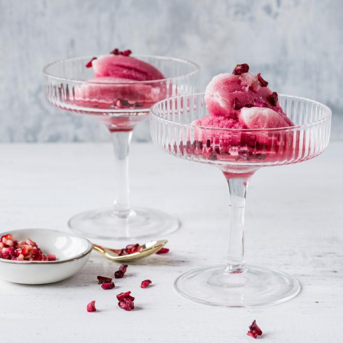 Pomegranate and prosecco sorbet