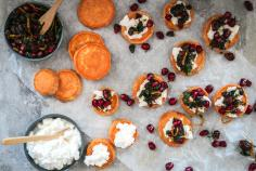 Sweet potatoes with ricotta and pomegranate salsa