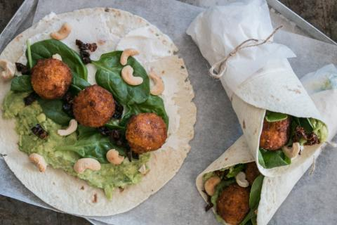 Falafel and avocado wrap