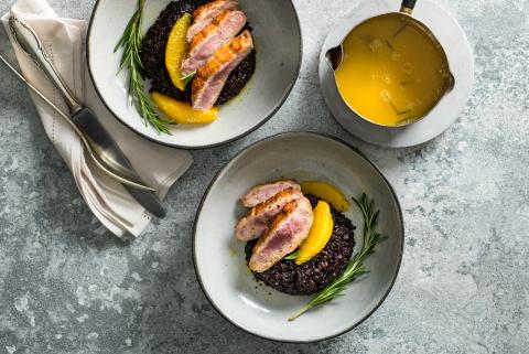 Duck breast with orange sauce