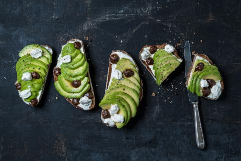 Avocado and ricotta crostini