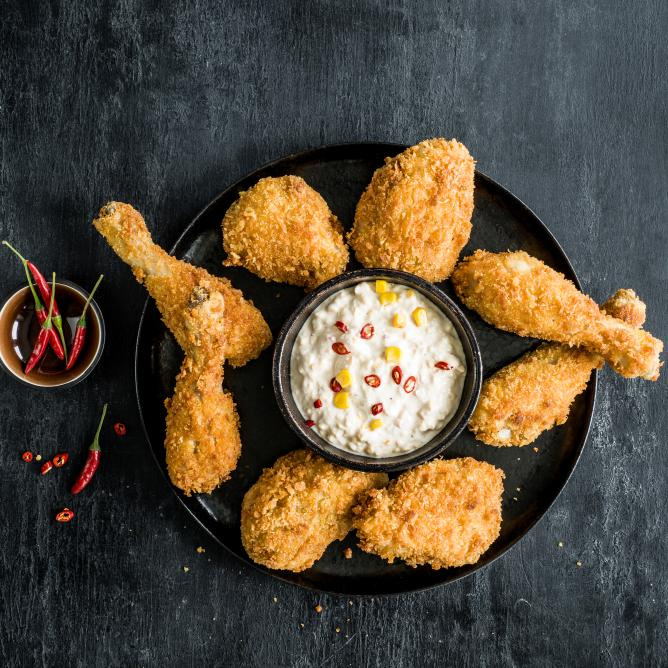 Fried Chicken mit scharfem Mais-Dip