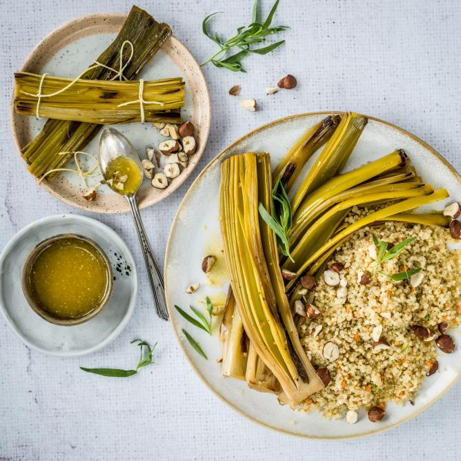 Braised leek with quinoa