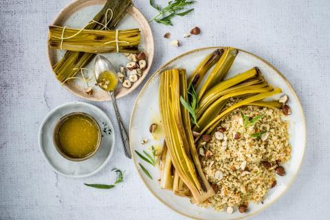Geschmorter Lauch mit Quinoa