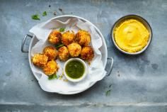 Vegetable balls with squash hummus