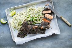 Salmone croccante con insalata di sedano