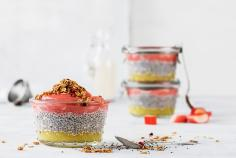 Chia pudding with rhubarb and apple puree