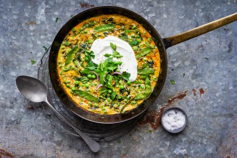 Frittata with peas