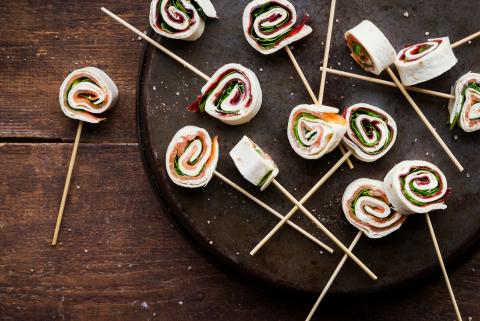 Wrap lollies with cream cheese