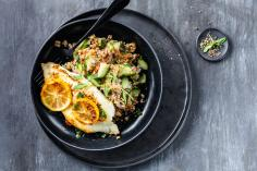 Turbot fillets with bulgur wheat salad
