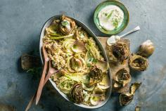 Quinoa salad with artichokes and fennel