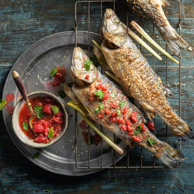 Grilled sea bass with lemongrass