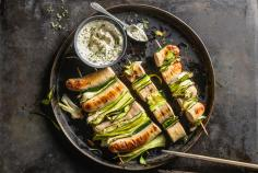 Veal sausage and courgette kebabs