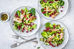 Salad with redcurrants and trout