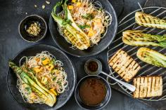 Grilled tofu with glass noodle salad