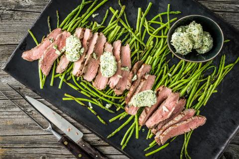 Flank steak tagliata with chimichurri butter