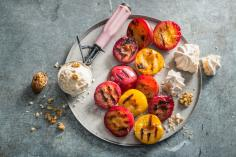 Grilled plums with ice cream