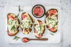 Spicy rhubarb toast