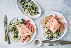 Salmon trout with rhubarb